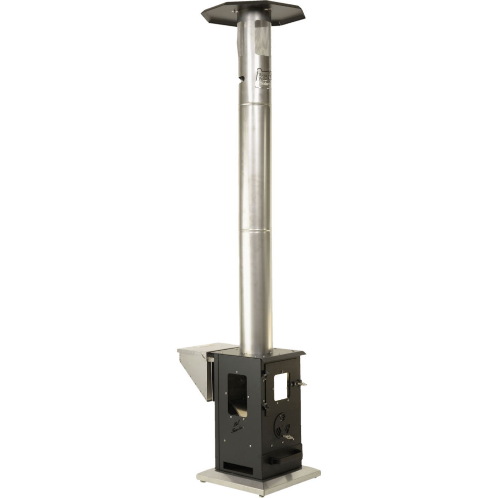 A Wood Pellet Outdoor Heater That Uses A Gravity Fed System