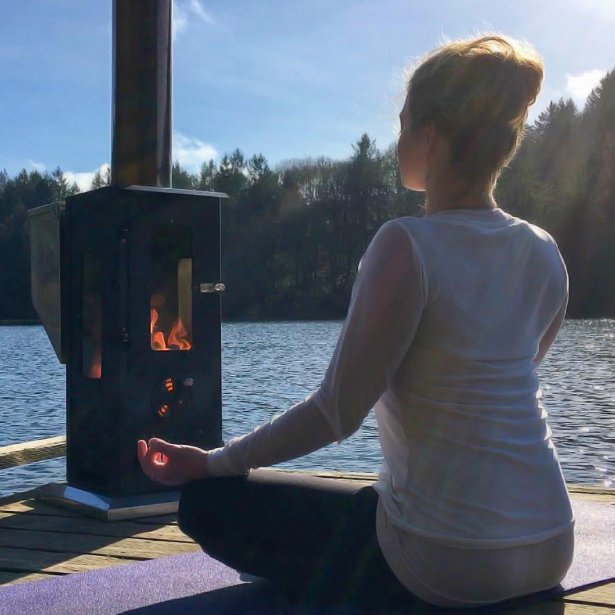 Meditation in front of a wood pellet patio heater