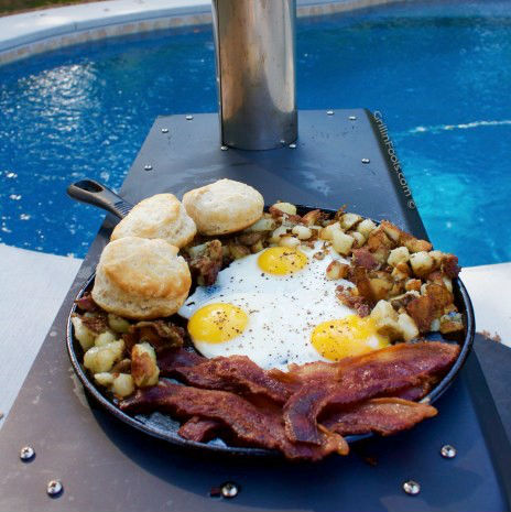 using the cooktop and oven to make breakfast on a portable grill