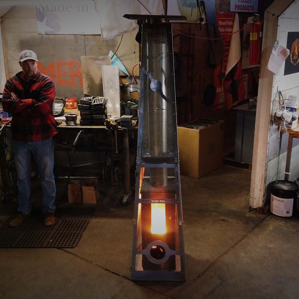 An Elite Timber Patio Heater demonstrating its 450 sq. ft. heating radius