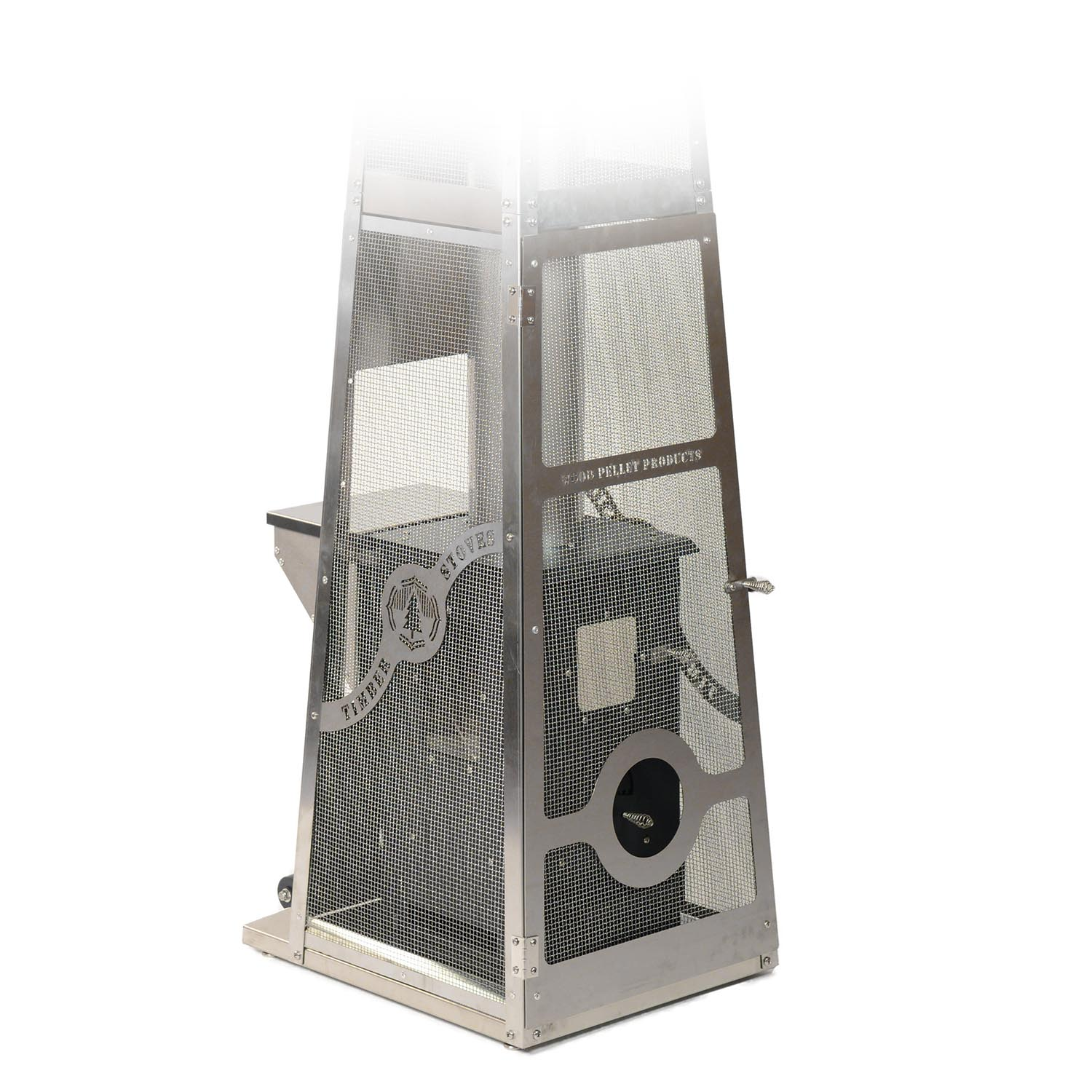 The front view of the Lil' Timber Elite Patio Heater with the door open