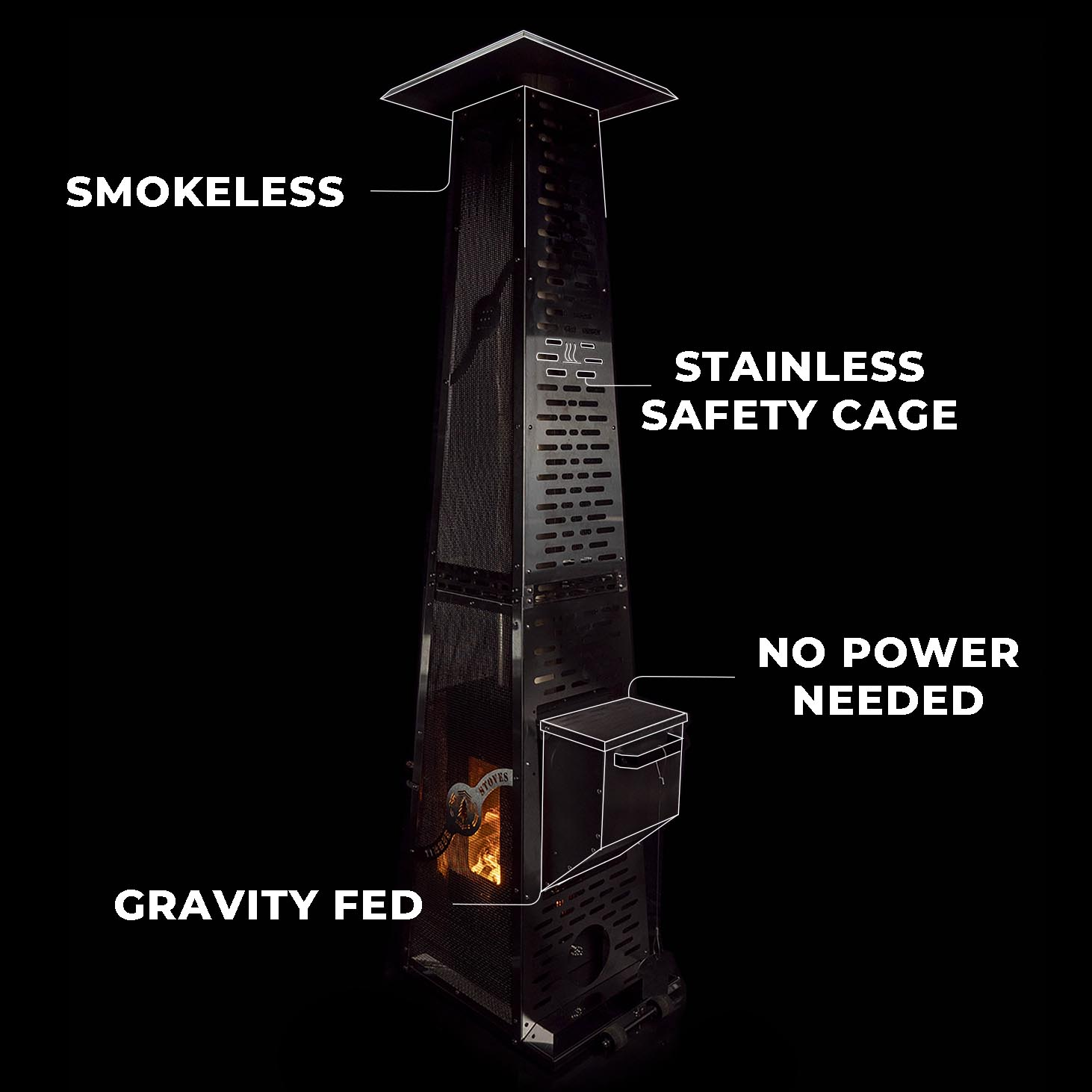Wood Pellet Products stainless patio heater